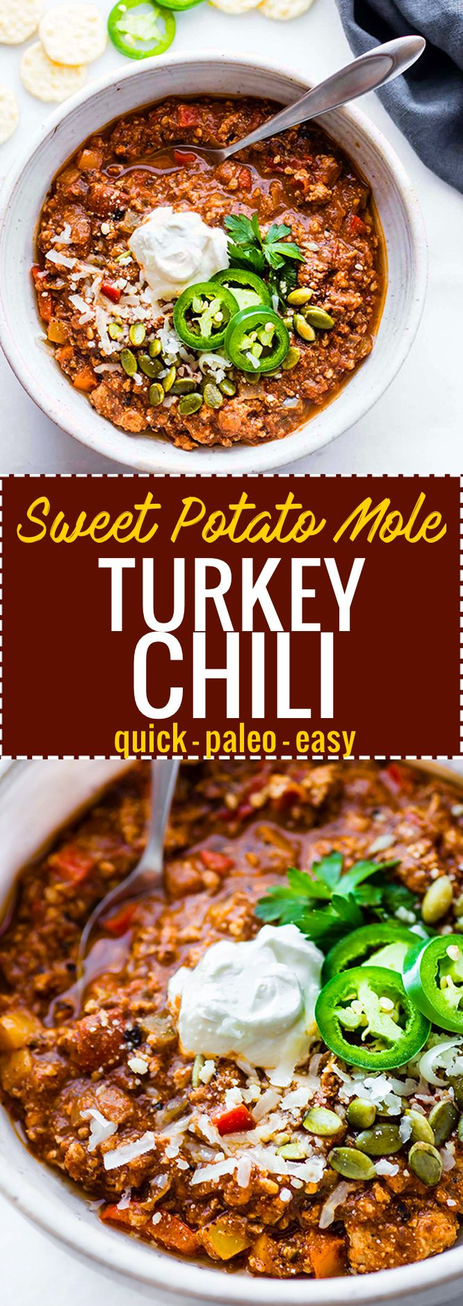 Quick Sweet Potato Mole Turkey that's Paleo friendly, simple to make, and healthy! A hearty Turkey chili made with an easy homemade sweet potato mole sauce. Great to feed a crowd, for meal prep, or to use up those holiday leftovers.
