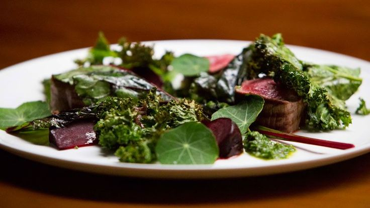 Seared Beef Fillet with Smoked Beurre Rouge, Crispy Kale, Roast Beetroots and Salsa Verde