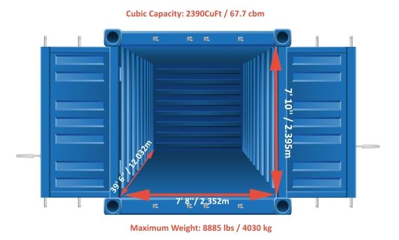 40 Foot Shipping Container Size Container Dimensions