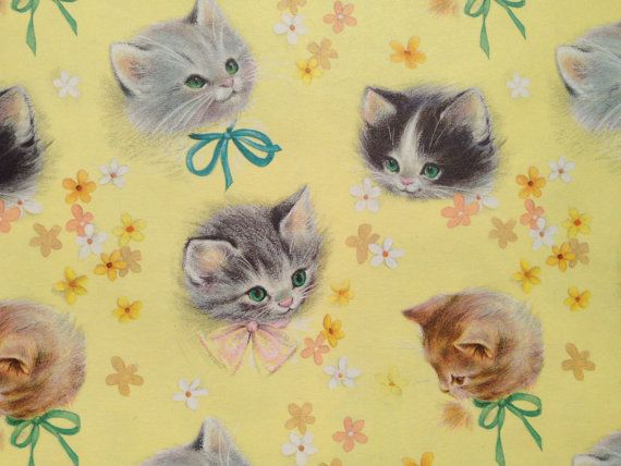 Vintage Gift Wrapping Paper - Kittens in Bows - Purr-fect Darlings by Hallmark - All Occasion- 1 Unused Partial Sheet Birthday Gift Wrap