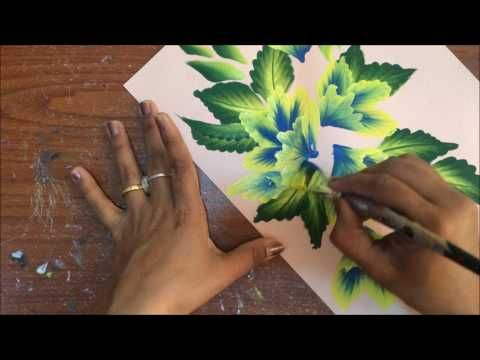 One Stroke Painting- Folded Flowers Composition - YouTube