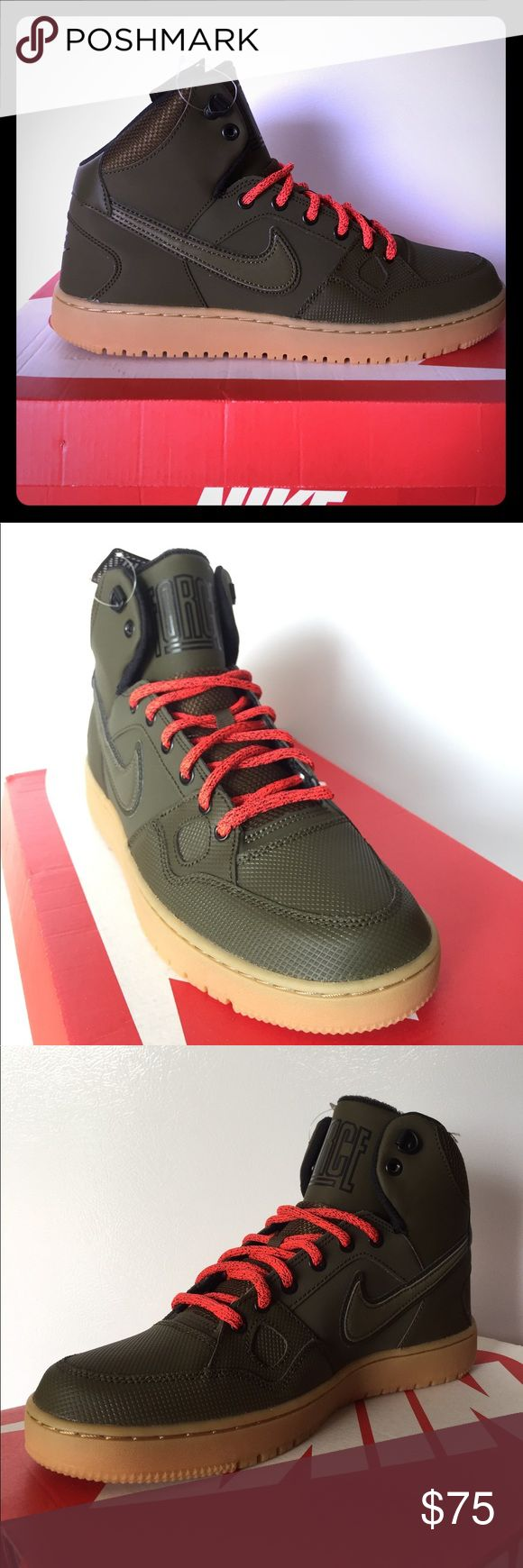 BRAND NEW Nike Son Of Force Mid!!! Check out these RADICAL Nike Son Of Force Winter Mids!!! This stylish Nike features a non-slip gum sole, water resistant upper, reflective accents throughout and SUPER COMFORTABLE Lunarlon insoles!!! Olive/Black/Gum/Orange Speckle Laces!!! DONT MISS OUT!!! Nike Shoes Athletic Shoes