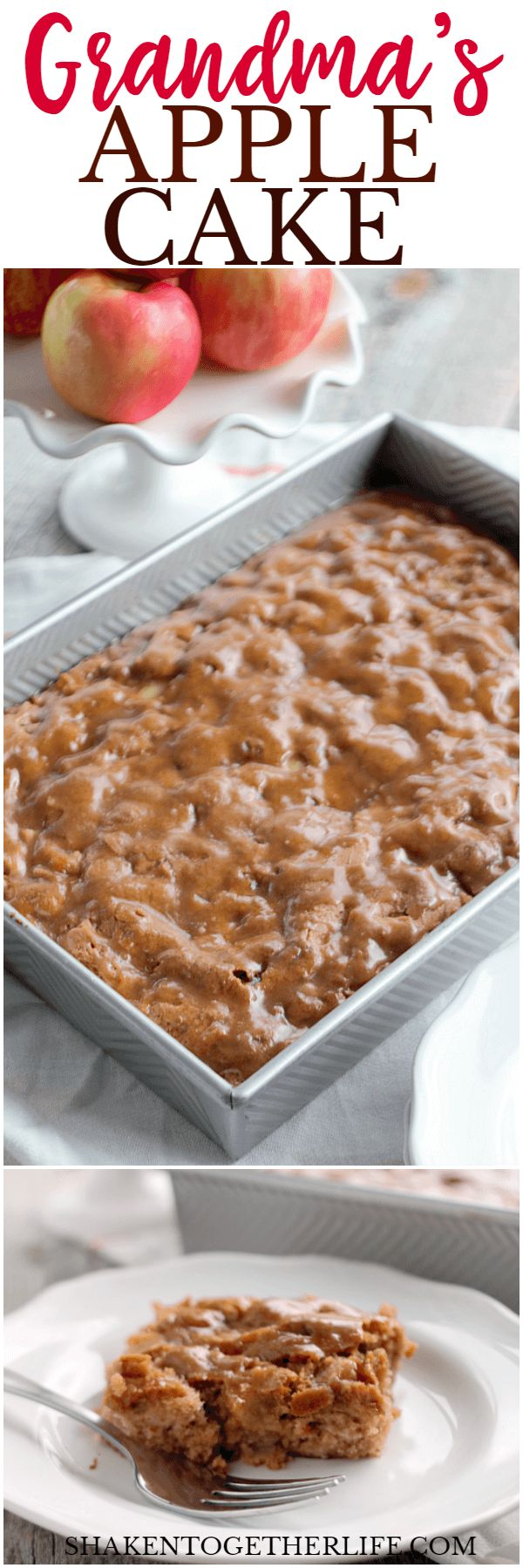 My Grandma's Apple Cake with Cinnamon Crackle Glaze is tender, studded with fruit and nuts and is topped with the most delicious cinnamon glaze!
