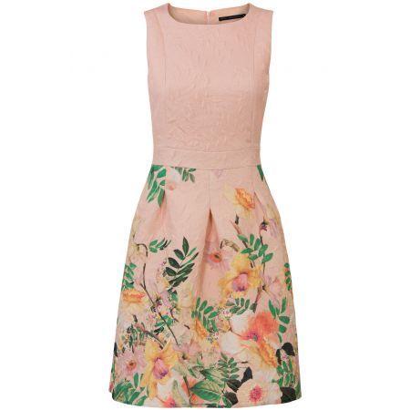 Mouwloze jurk met relief en print Licht Roze