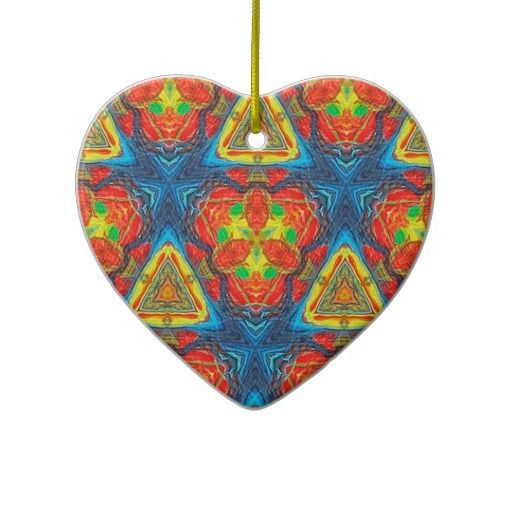 Christmas Tree San Jose: Rainbow Triangles Kaleidoscope Ceramic Ornament