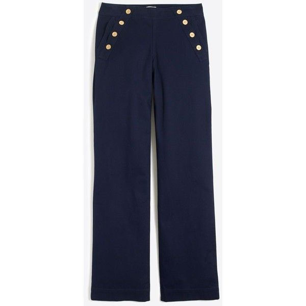 J.Crew Sailor trouser ($55) ❤ liked on Polyvore featuring pants, blue cotton pants, j crew pants, j crew trousers, fitted pants and blue pants