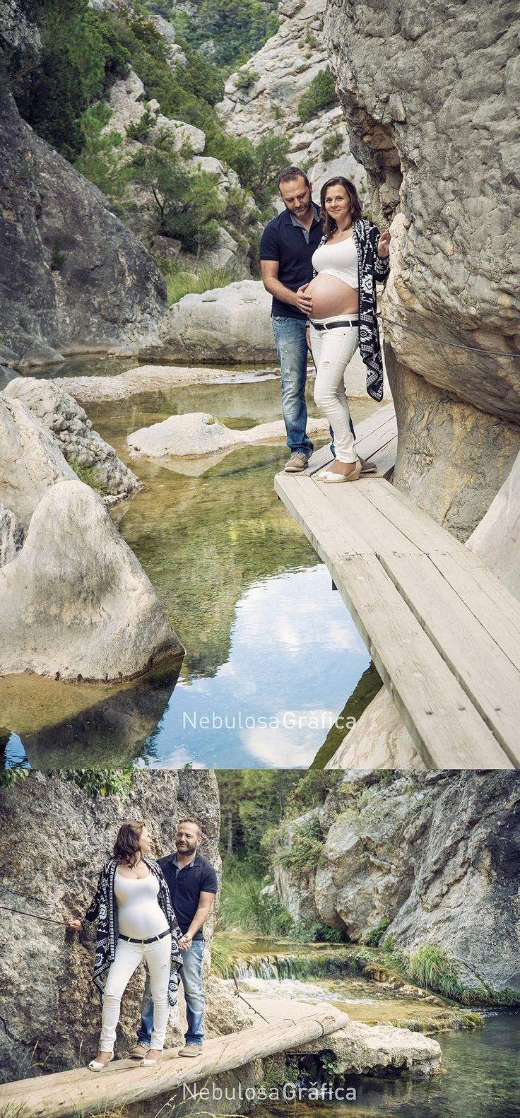 Prenatal photo session between mountains and rivers.
