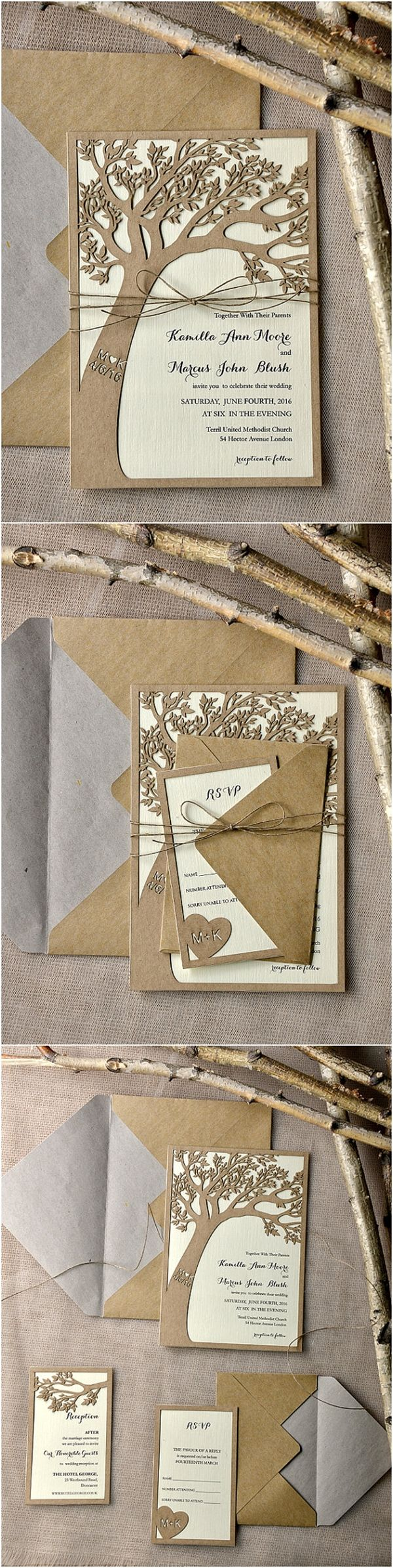Rustic Country Eco Chic Laser Cut Tree Wedding Invitations - Deer Pearl Flowers