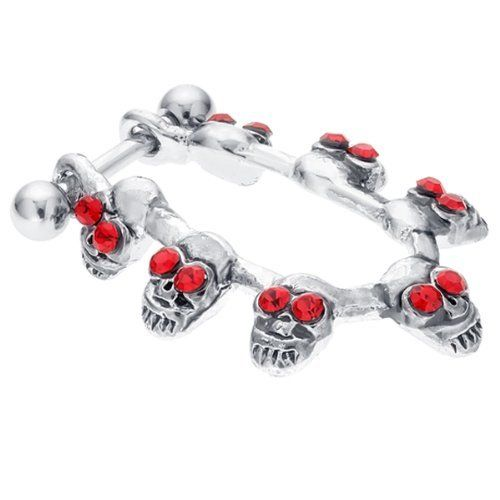 Ruby-eyed CZ Accented Voodoo Skulls Cartilage Piercing Cuff Earring FreshTrends. $5.99. Made from high quality 316L Surgical Grade Stainless Steel. A fun and unique cartilage earring