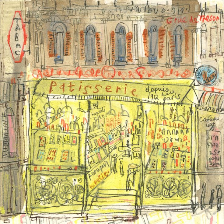 PATISSERIE PARIS ART French Signed Print Mixed-media Paris Cake Shop Painting Drawing Paris Wall Art Paris Cafe Bar Print Clare Caulfield