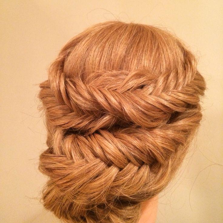 Fishtail braid updo. Fun & funky updo  Charlotte bridal hairstylist www.danaraiabridal.com