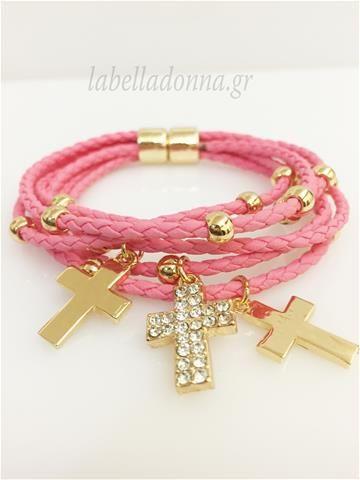 Labelladonna.gr - Βραχιόλι πλεκτό cross ροζ-φούξια