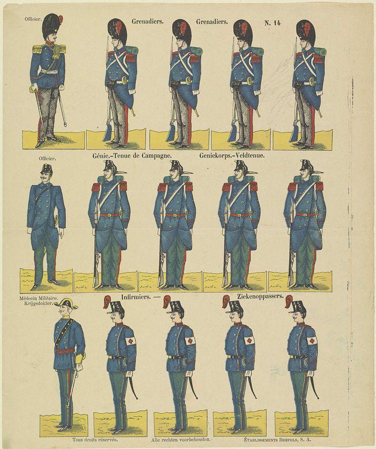 S.A. Établissements Brepols   Grenadiers / Grenadiers / Génie.-Tenue de Campagne / Geniekorps.-Veldtenue / Infirmiers / Ziekenoppassers, S.A. Établissements Brepols, Anonymous, 1911 - 1991   Blad met 3 horizontale rijen met in totaal 15 voorstellingen van officieren, militairen met geweren, een krijgsdokter en ziekenoppassers. Genummerd rechtsboven: N. 14.