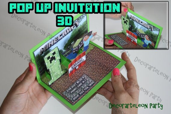 Minecraft 3D INVITATION - Printable Pop Up invitation Minecraft Birthday- Digital file