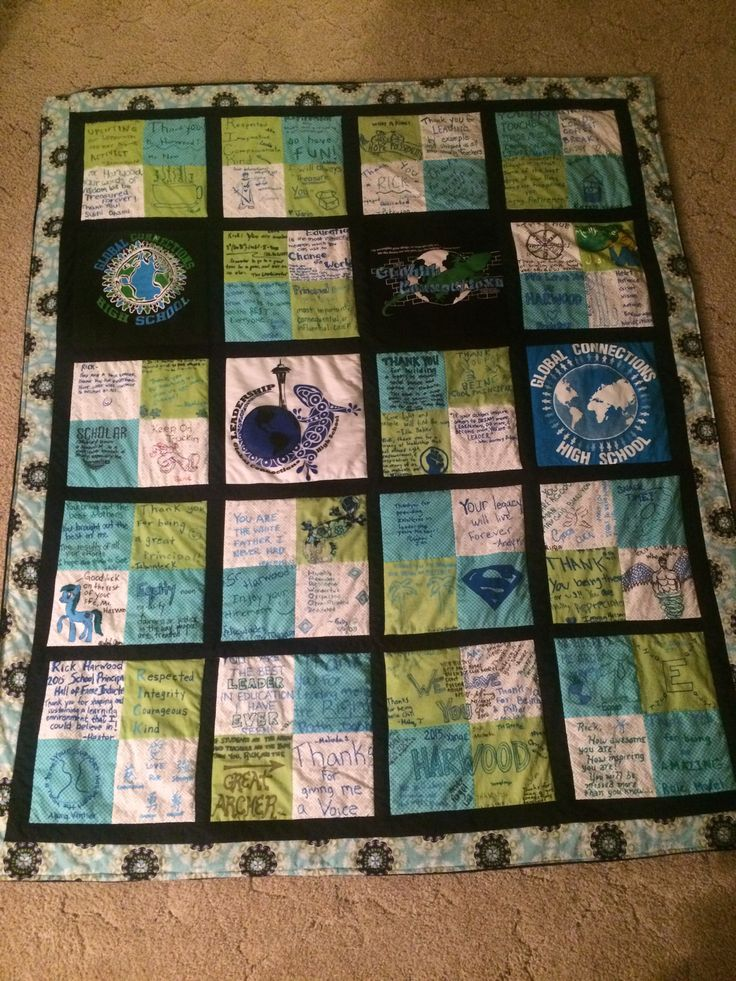 I made this quilt for my principal for his retirement. We had staff and students each fill out ...