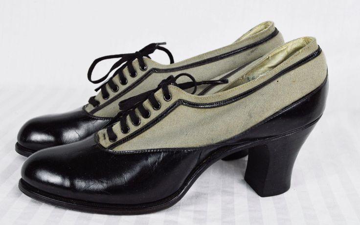 Antique Victorian Edwardian Spectator Oxford Shoes Louis Heel High 1910 Boots | eBay