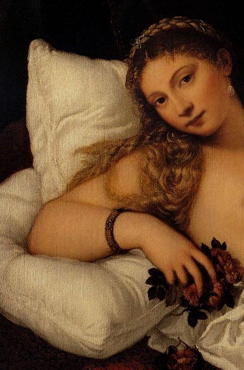 Venus of Urbino (detail), by Titian (Tiziano Vecelli, Italian ...