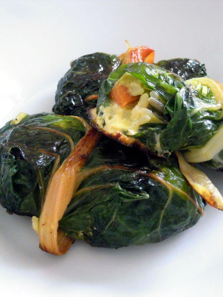 Involtini di bietole arcobaleno e frittata di riso con verdure
