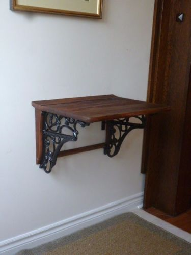 Re-Purposed-Antique-Cast-Iron-Wood-School-Desk-Hall-Entry-Reception-Table