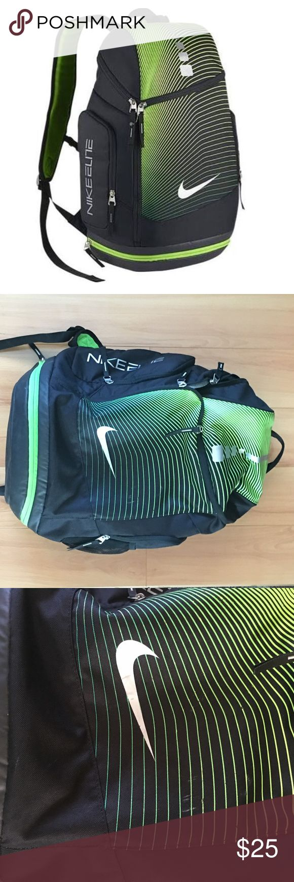 Nike Elite Backpack Nike Elite Backpack. Used condition. Minors wear. Small section of the zipper came off track but it doesn't effect the use. Back buckle doesn't latch. Still has a lot of life. Nike Bags Backpacks