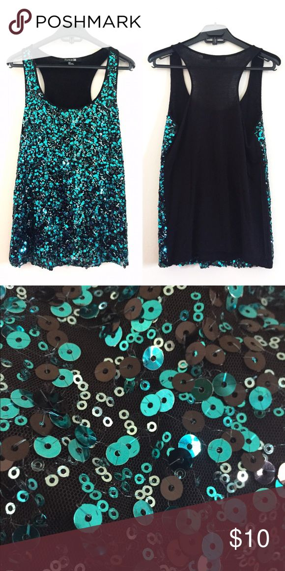 Sequined Green Top Sparkle during the day or night, this top will complete your outfit! Fits loose. Forever 21 Tops Tank Tops