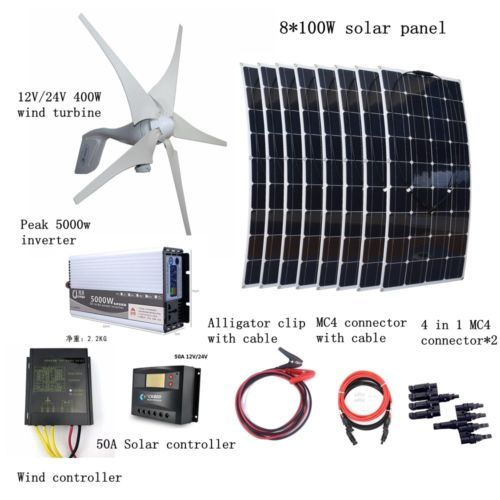 1200w Kit 400w Wind Turbines 8100w Solar Panel Controller 5000w Inverter Solar Kit Solar Panels Solar