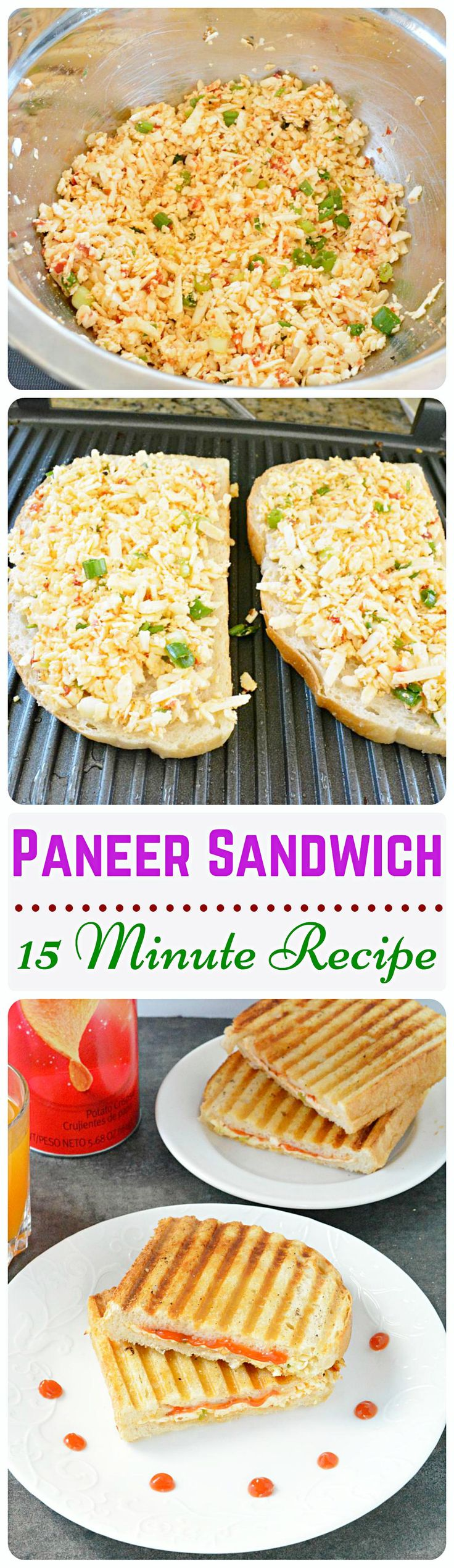 Spicy Paneer Sandwich - This spicy and flavorful sandwich is stuffed with homemade ‪#‎paneer‬ and spicy sauce. Paneer can be substituted with TOFU.