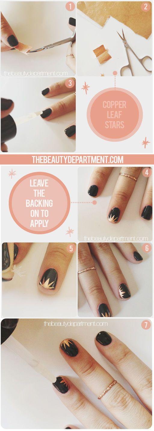 Weekend project! Copper leaf + black starburst nail art.