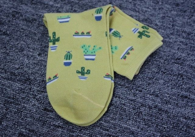 New 70% Combed Cotton Meias Cute Japanese Socks Plant Cactus Cotton Harajuku Socks for Women 4 Colors 35-39