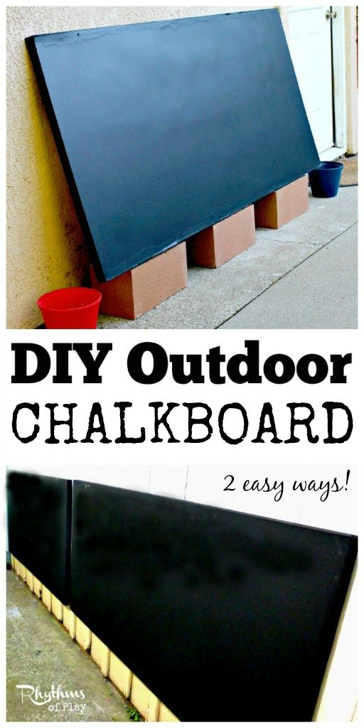 Make your own outdoor chalkboard using these easy tips and tricks. Contains a tutorial for two easy ways to make your own DIY outdoor chalkboard! DIY Outdoor Projects | Backyard Play Spaces