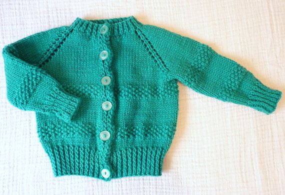 Hand knit cardigan sweater, 6 to 12 months by LazerBabyVintage, $12.00
