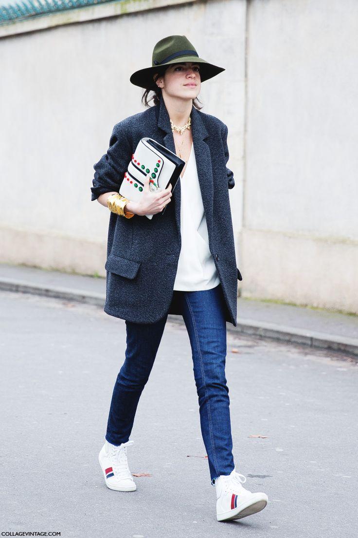 Leandra Medine // green hat, oversized blazer, skinny jeans & high-top sneakers #style #fashion #streetstyle #manrepeller