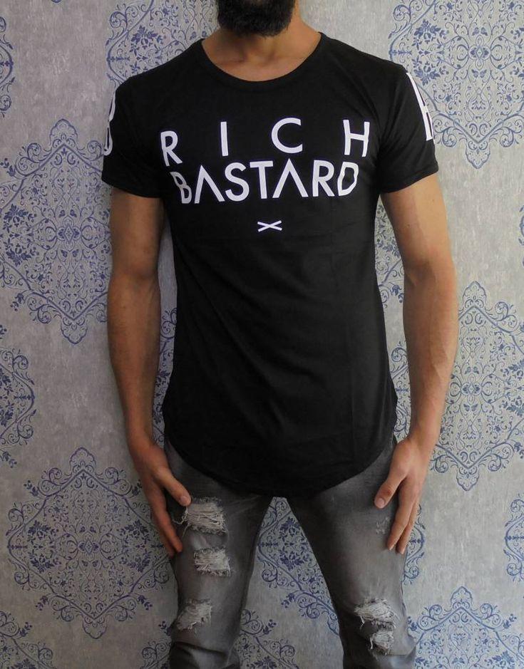 Rich Bastard longfit tee black www.dopedfashion.com #urban #longfit #tshirt #mens #fashion #men #haute #couture #dope #clothing #kleding #heren #mode #winkelen #shopping
