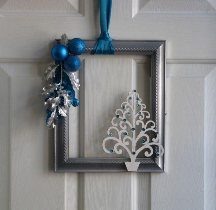 Picture Frame Christmas Wreath - Silver, White and Aqua. $25.00, via Etsy.  At:  www.badcandystudios.etsy.com.