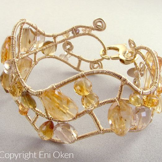 Wavy Bracelet Tutorial, by Eni Oken. Uses only wire and beads, no solder or glue | JewelryLessons.com