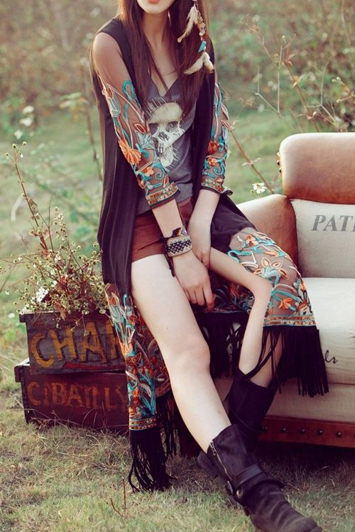 Collarless See-Through Flower Embroidery Chiffon Blouse