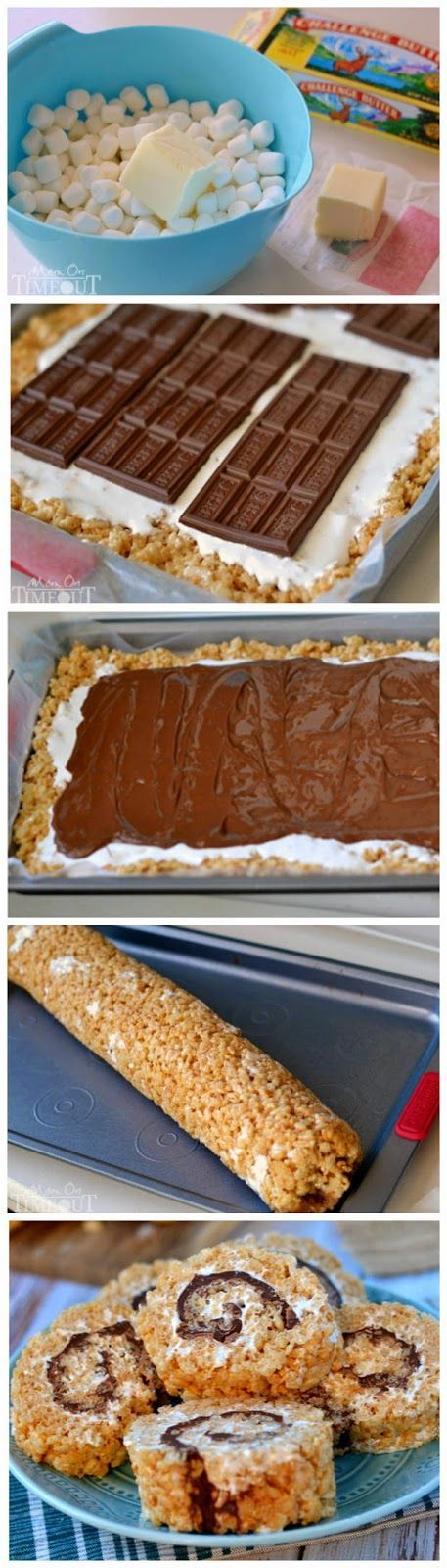 Say goodbye to boring squares and hello to these fun S'mores Rice Krispies Treats pinwheels!