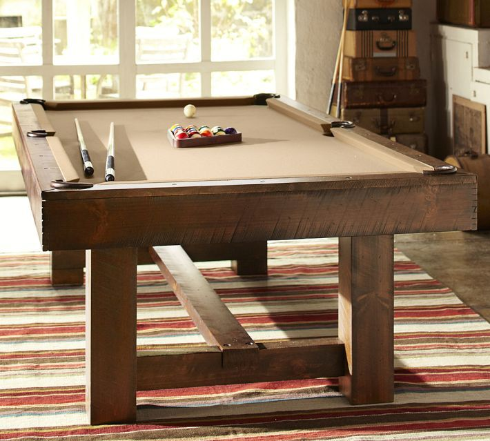 PB Pool Table, Rustic Mahogany Finish With Camel Felt And Table Tennis Cover  Set, Camel