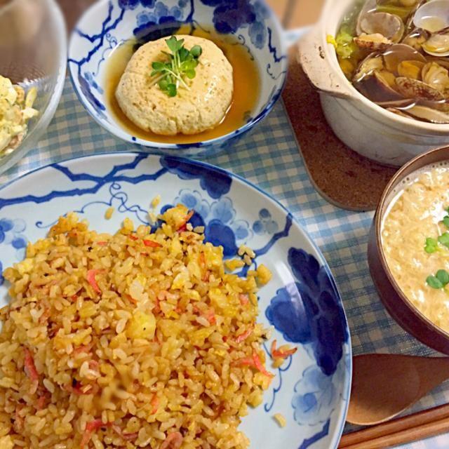 ●たまごと桜エビのチャーハン ●たまごの蒸豆腐 ●ちくわのたまごサラダ ●たまごの味噌汁 ●春キャベツとあさりのプチ鍋 - 11件のもぐもぐ - たまご料理◯ by ぁーち