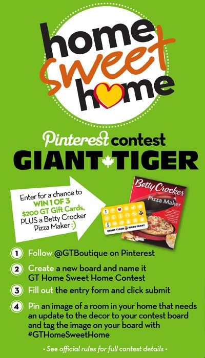 Pin to share the Home Sweet Home contest from Giant Tiger #GTHomeSweetHome