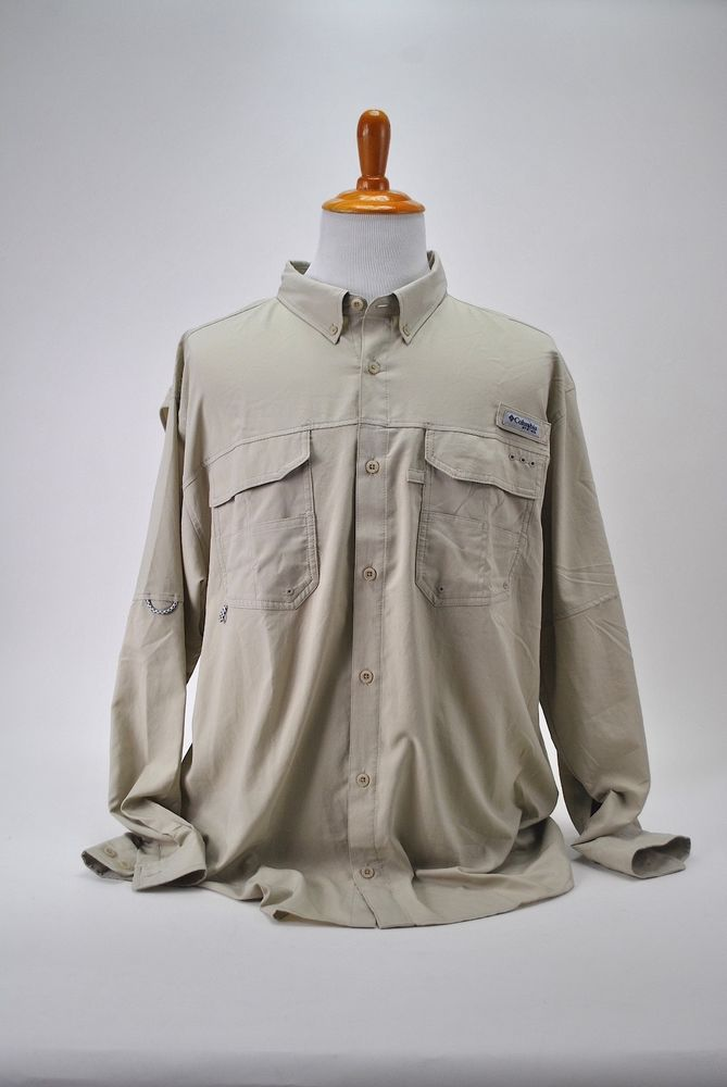 746776b13d4 Columbia PFG Omni-Shade Mens Blood 'N Guts Vented Fishing XXL Beige Hiking # Columbia #ButtonFrontShirt