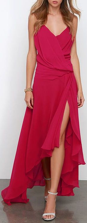 Flowy Side Slit Crimson Dress ❤︎ #bridesmaid #wedding #dress