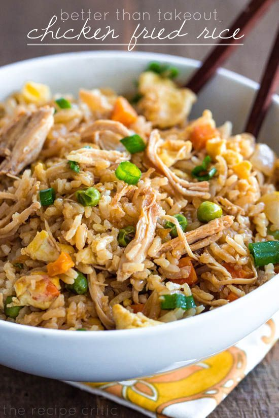 Yummy chicken fried rice recipe! I made this one healthier by using egg whites, brown rice and tamari as substitutes.  Turned out just as good!