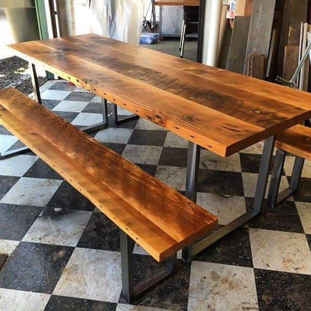 Reclaimed Wood Table And Bench Set.
