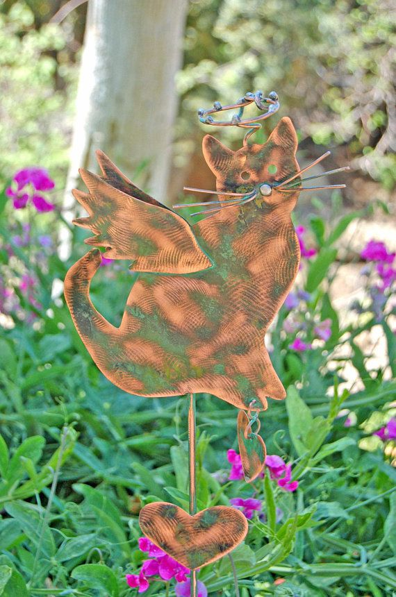 Cat Metal Yard Art Pet Grave Marker Garden Stake Outdoor