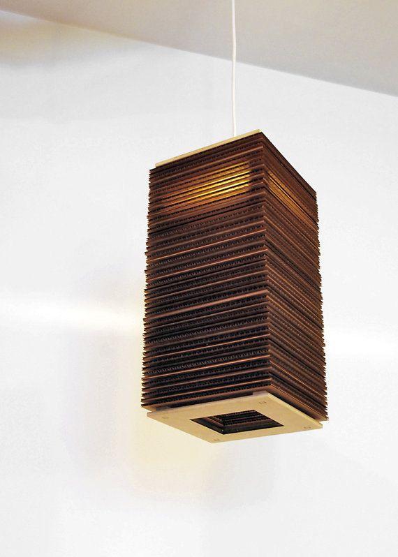 Tall Boy - Modern Hanging Corrugated Cardboard Lamp Light Tower Pendant by CORRUG. $79.00, via Etsy.