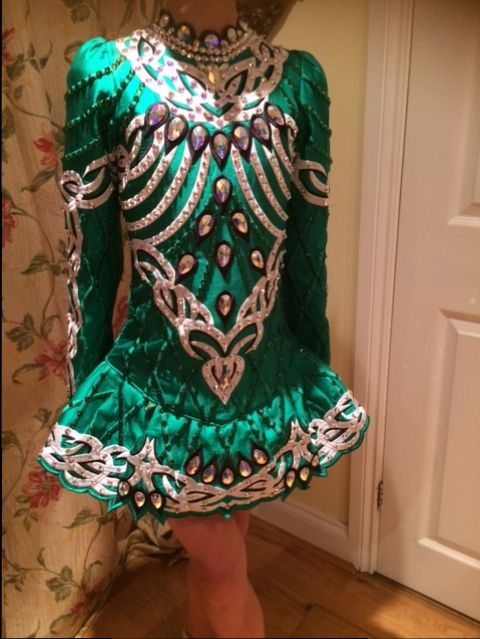 Gorgeous Green Siopa Rince Irish Dance Dress Solo Costume For Sale