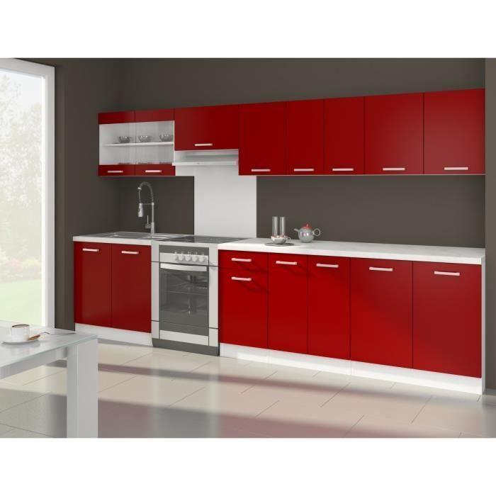 Ultra Cuisine Complete Avec Plan De Travail L 3m20 Rouge Mat En