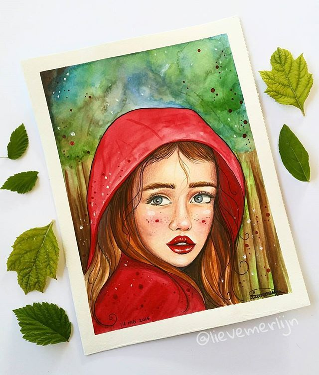 I created my own version of little red riding hood❤ #fairytail #littleredridinghood #forest #watercolorpainting #watercolor