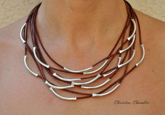 Leather and Sterling Silver Necklace - 8 Strand - Leather and Sterling Silver Jewelry Collection